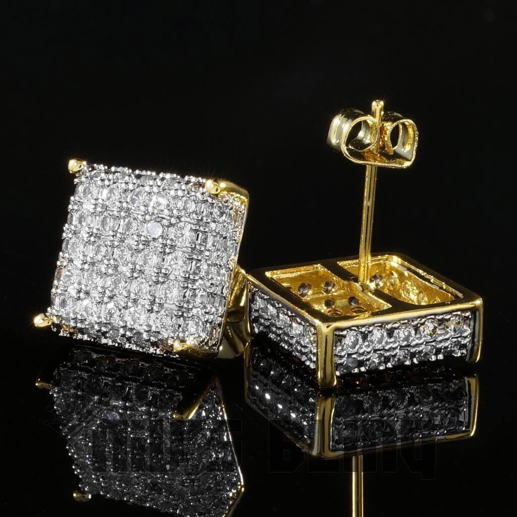 18k Gold Iced Square Stud Earrings