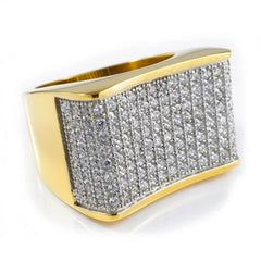 18k Gold Iced Stainless Steel Concave Ring