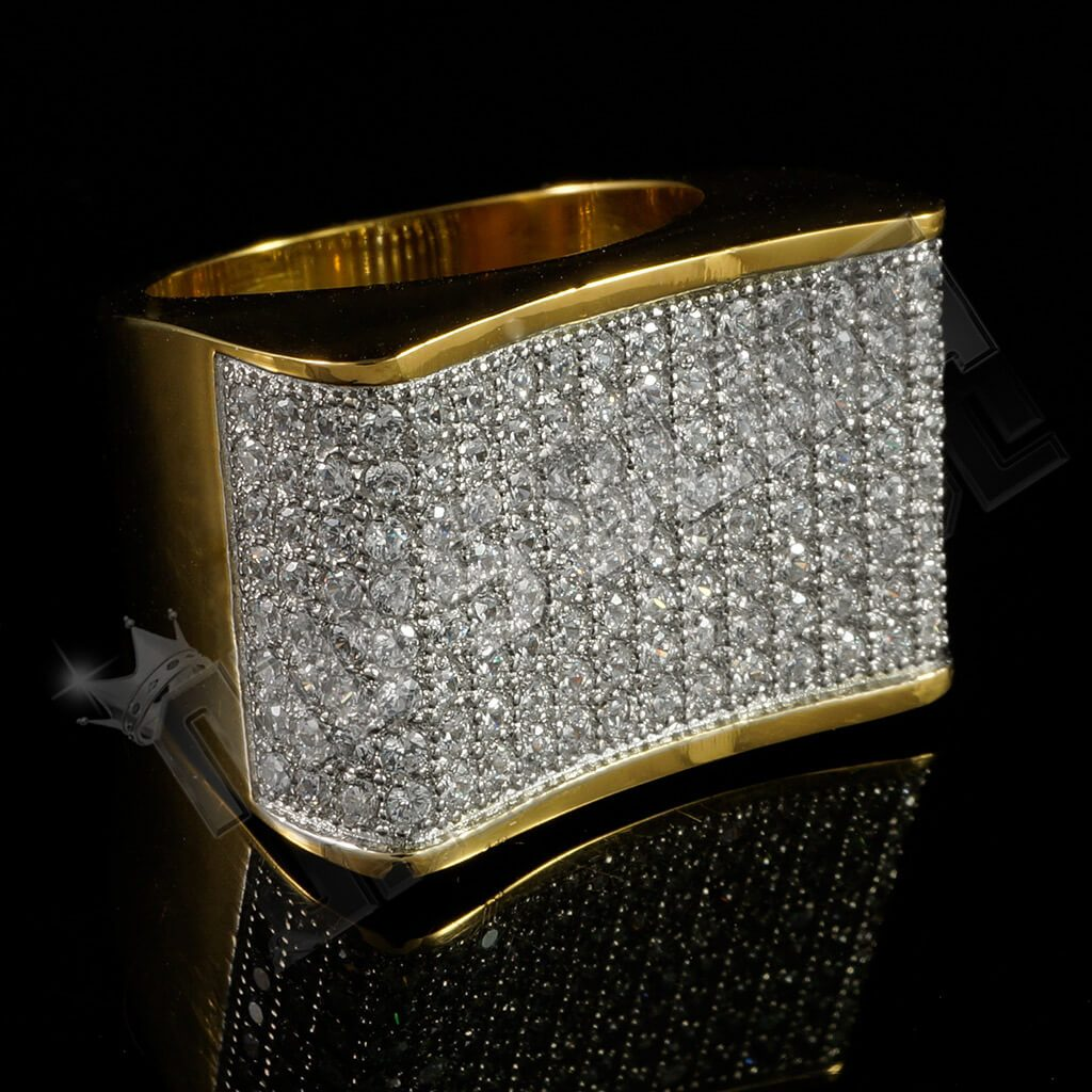 18k Gold Iced Out Stainless Steel Concave Ring