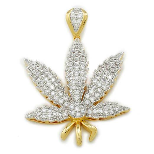 Affordable 18k Gold Iced Out Weed Hip Hop Pendant - Front View