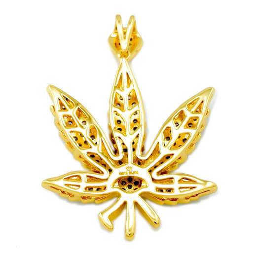 Affordable 18k Gold Iced Out Weed Hip Hop Pendant - Back View