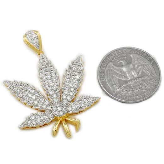 Affordable 18k Gold Iced Out Weed Hip Hop Pendant - Coin Comparison