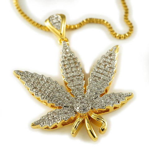 18k Gold Iced Out Weed Pendant with Box Chain