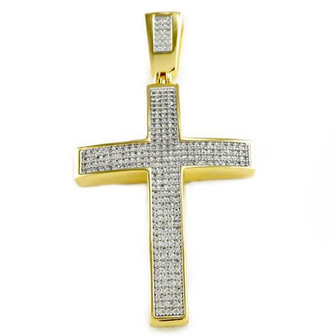 Affordable 18k Gold Jesus Cross 1 With Rope Hip Hop Chain - Front View