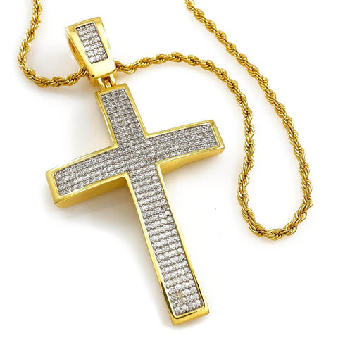 Affordable 18k Gold Jesus Cross 1 With Rope Hip Hop Chain - White Background