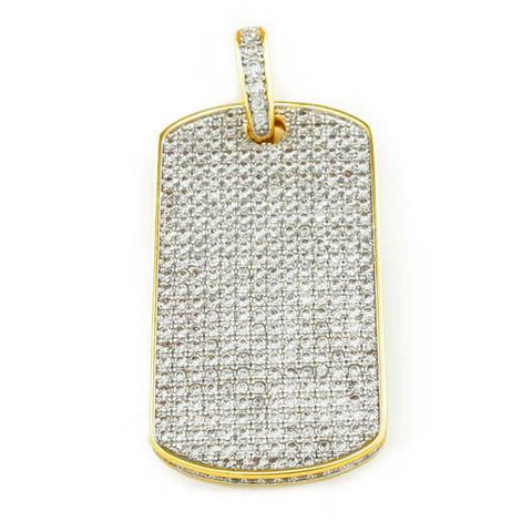Affordable 18k Gold Plated Iced Out Dog Tag With Ball Hip Hop Chain - Front View