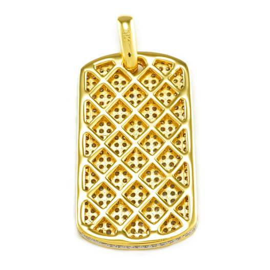 18k Gold Plated Iced Dog tag with Box Chain