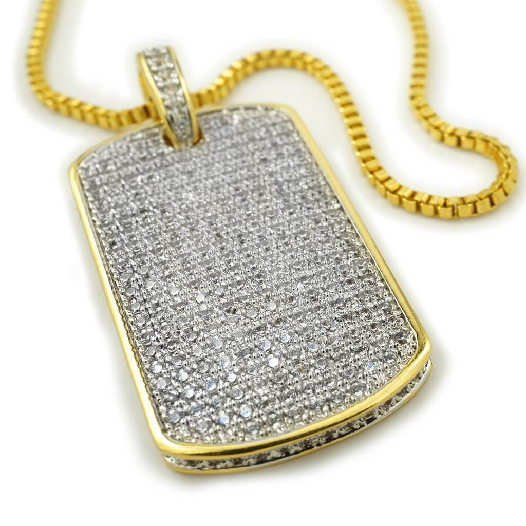 18k Gold Plated Iced Out Dog tag with Box Chain