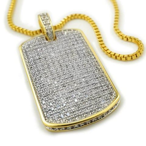 Affordable 18k Gold Plated Iced Out Dog Tag With Ball Hip Hop Chain - White Background