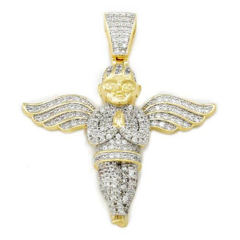 Affordable 18k Gold Praying Angel Iced Out Pendant With Hip Hop Chain - Front View