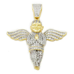 18k Gold Praying Angel Iced Pendant With Rope Chain
