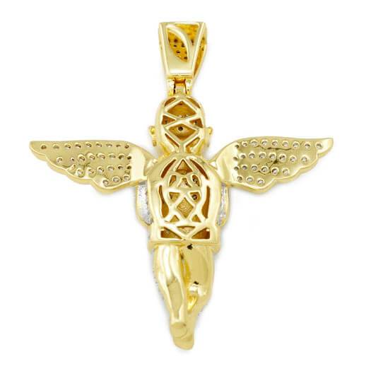 Affordable 18k Gold Praying Angel Iced Out Pendant With Hip Hop Chain - Back View