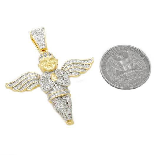 Affordable 18k Gold Praying Angel Iced Out Pendant With Hip Hop Chain - Coin Comparison