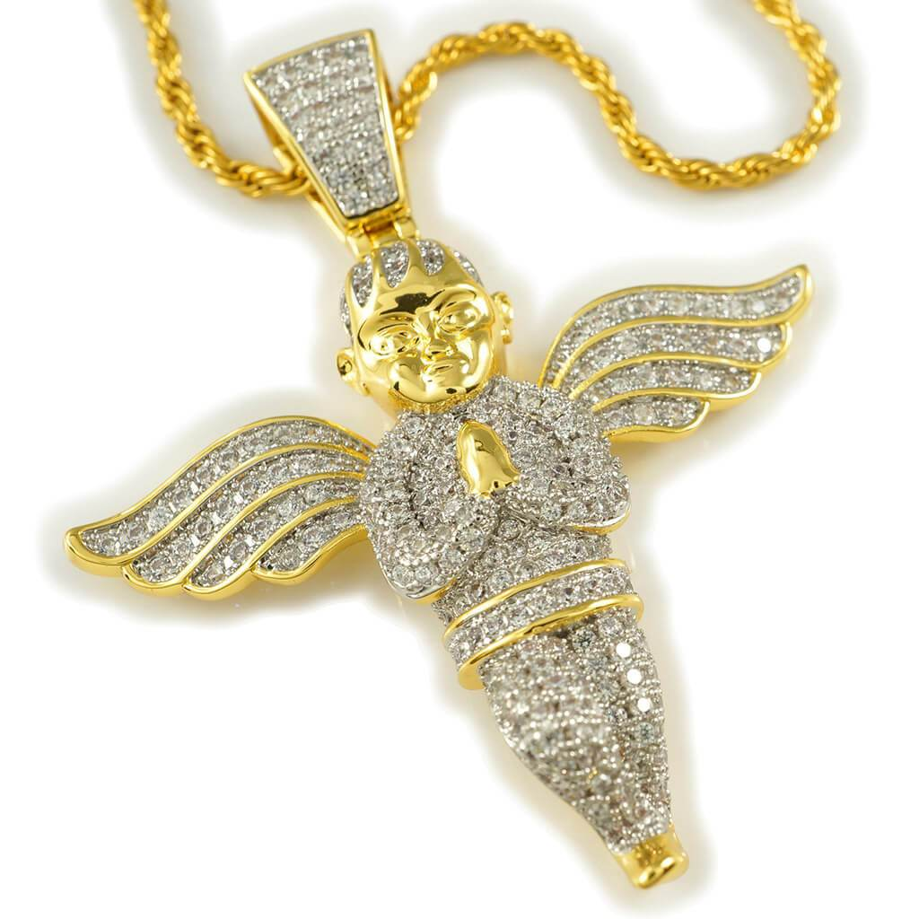 18k Gold Praying Angel Iced Out Pendant With Rope Chain