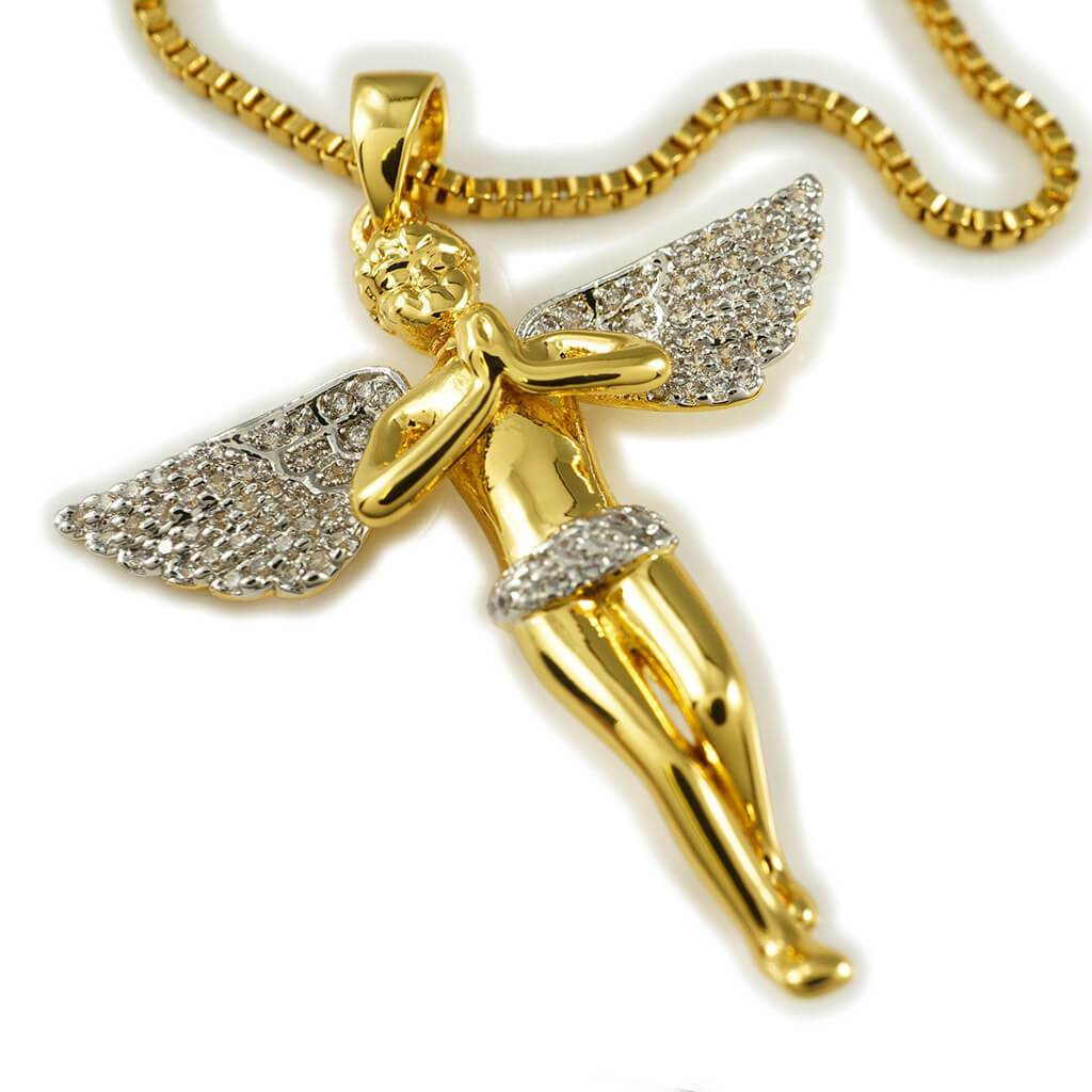 18k Gold Praying Mini Angel Pendant With Rhodium Prongs and Box Chain