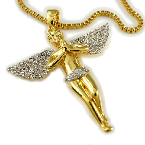 Affordable 18k Gold Praying Mini Angel Pendant With Rhodium Prongs And Hip Hop Chain - White Background
