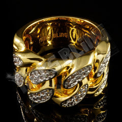 Affordable 18k Gold Rhodium Iced Out Cuban Link Hip Hop Ring - Side View