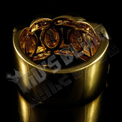 Affordable 18k Gold Rhodium Iced Out Cuban Link Hip Hop Ring - Back View