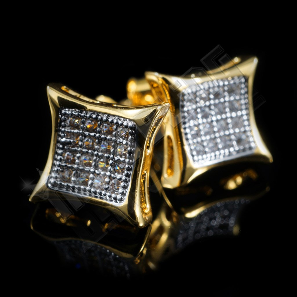 Affordable 18k Gold Rhodium Iced Out Kite Square Stud Hip Hop Earrings - Back View