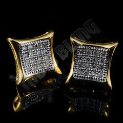 Affordable 18k Gold Rhodium Iced Out Kite Square Stud Hip Hop Earrings - Side View
