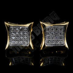 Affordable 18k Gold Rhodium Iced Out Kite Square Stud Hip Hop Earrings - Front View