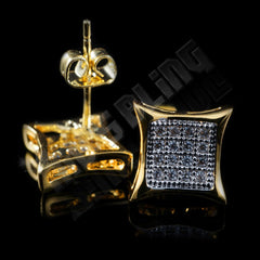 Affordable 18k Gold Rhodium Iced Out Kite Square Stud Hip Hop Earrings - Back View with Stud