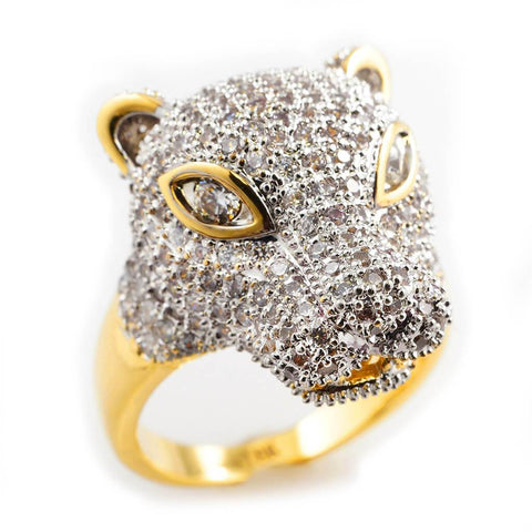 18k Gold Rhodium Iced Panther Ring