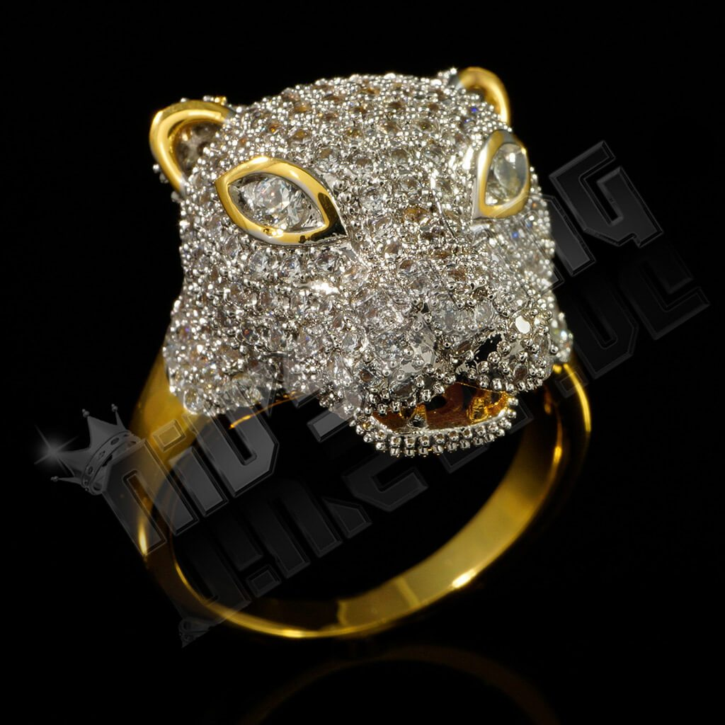 Affordable 18k Gold Rhodium Iced Out Panther Hip Hop Ring - Black Background