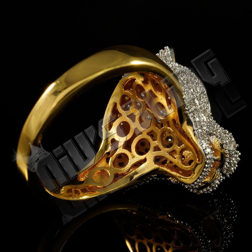 Affordable 18k Gold Rhodium Iced Out Panther Hip Hop Ring - Back View