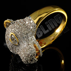 Affordable 18k Gold Rhodium Iced Out Panther Hip Hop Ring - Side View