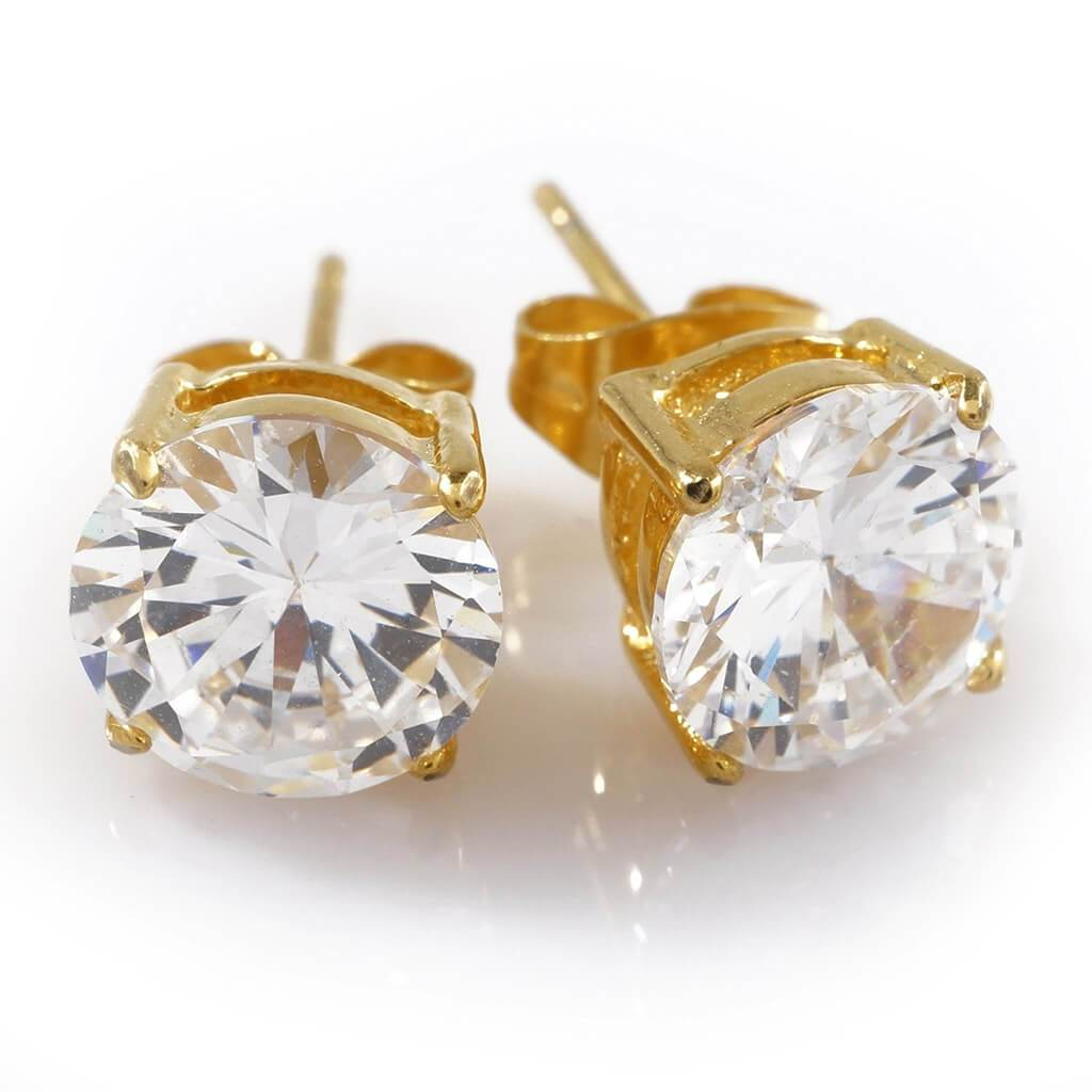 18k Gold Stainless Steel Round Stud Earrings