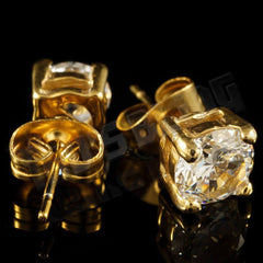 Affordable 18k Gold Stainless Steel Round Stud Hip Hop Earrings - Front and Back View