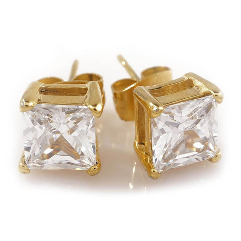Affordable 18k Gold Stainless Steel Square Stud Hip Hop Earrings - White Background