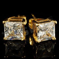 Affordable 18k Gold Stainless Steel Square Stud Hip Hop Earrings - Black Background