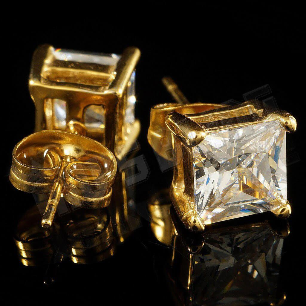 Affordable 18k Gold Stainless Steel Square Stud Hip Hop Earrings - Side and Back View