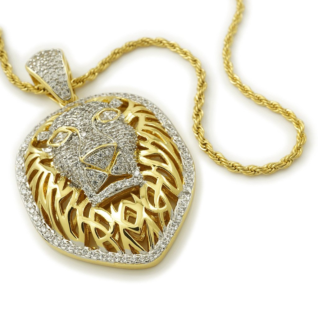 18k Gold Tiger King Lion Pendant with Rope Chain