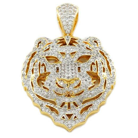 Affordable 18k Gold Tiger Lion Hip Hop Pendant - Front View