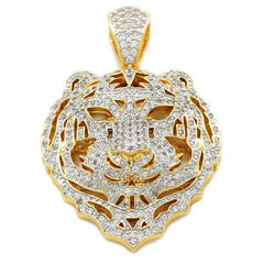 18k Gold Tiger Lion Pendant with Rope Chain