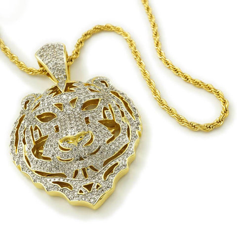 Affordable 18k Gold Tiger Lion Hip Hop Pendant - White Background