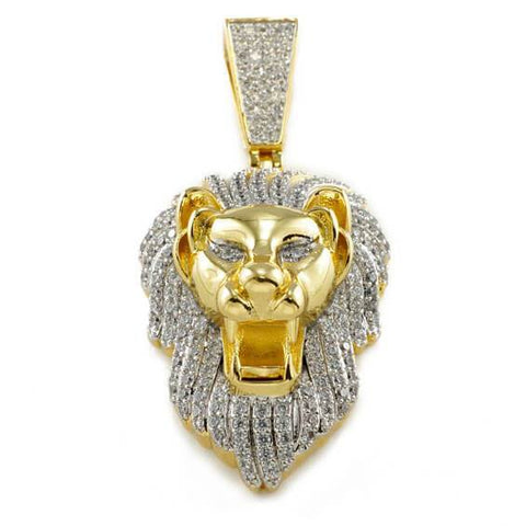 Affordable 18k Gold Tiger Lion Roar Hip Hop Pendant - Front View