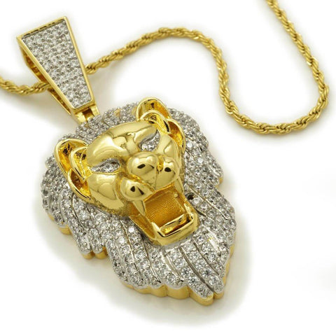 Affordable 18k Gold Tiger Lion Roar Hip Hop Pendant - White Background