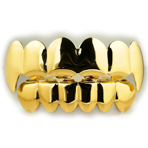 Affordable 18K Gold Vampire Fang Hip Hop Grillz - White Background