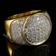 Affordable 18k IP Gold Iced Out Stainless Steel Presidential Hip Hop Ring - Black Background