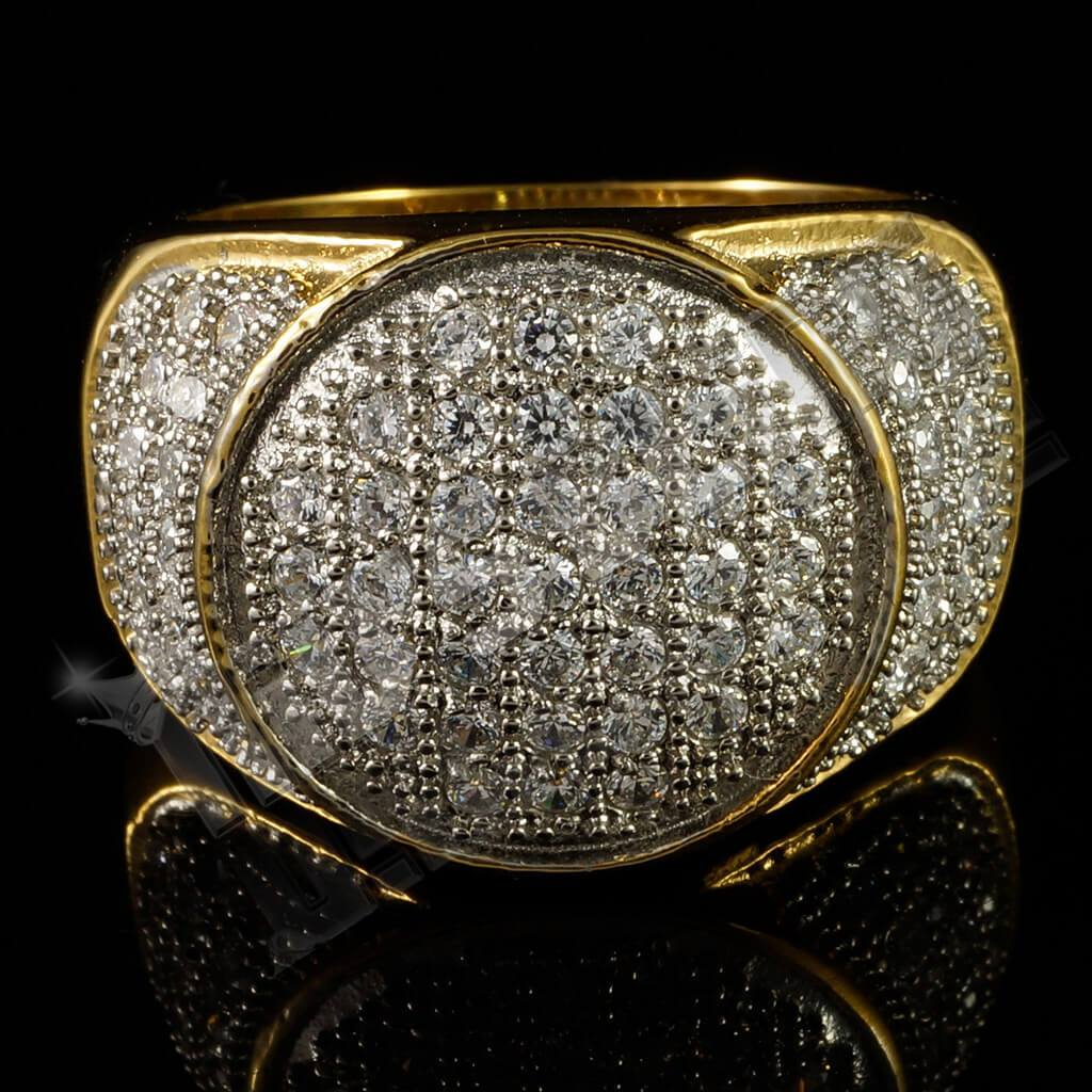18k IP Gold Iced Stainless Steel Presidential Ring