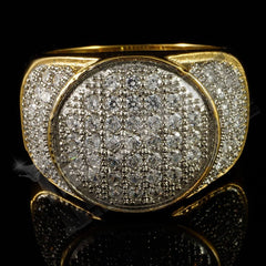 Affordable 18k IP Gold Iced Out Stainless Steel Presidential Hip Hop Ring - Front View