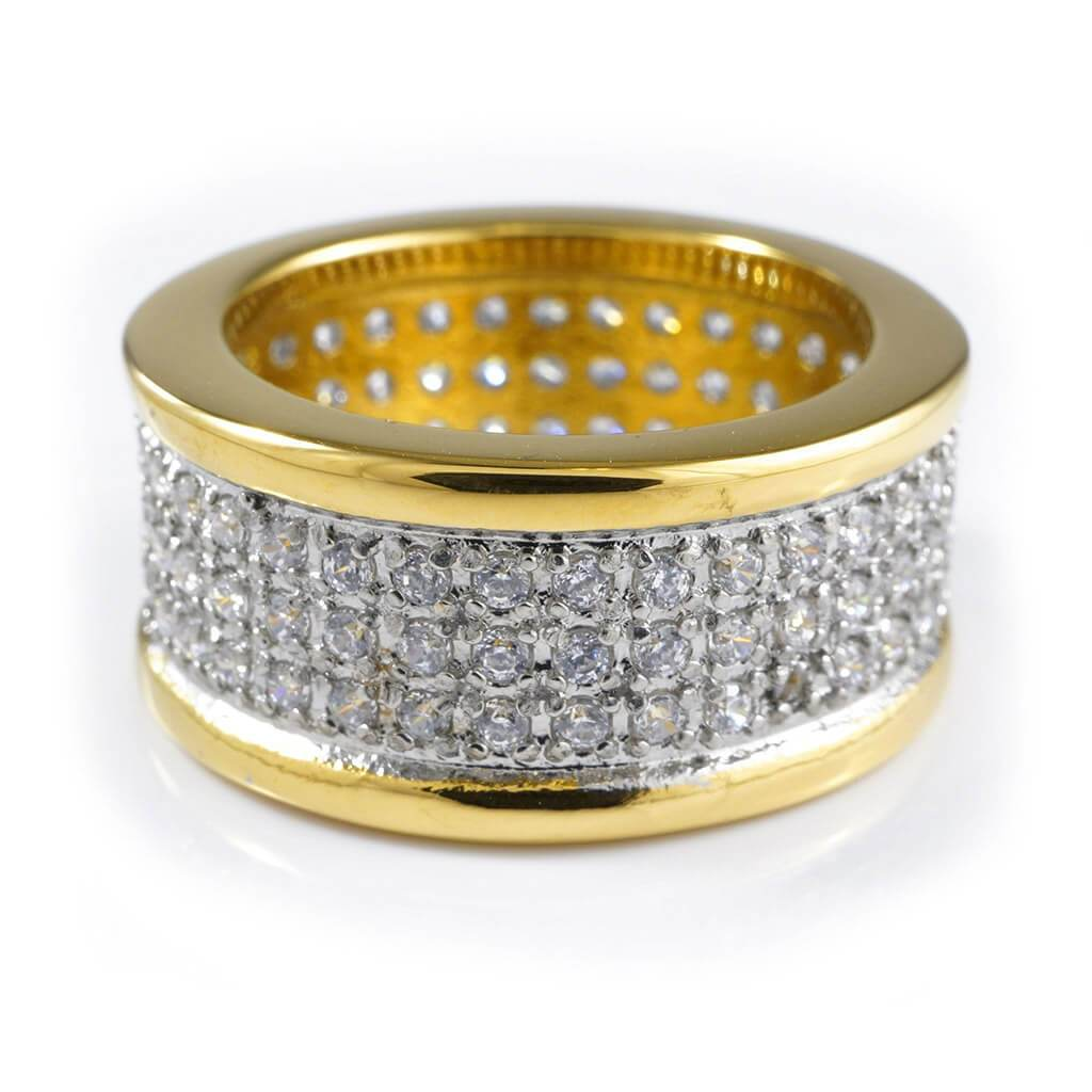 Affordable 18k IP Gold Iced Out Stainless Steel Round Hip Hop Ring - White Background