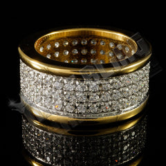 Affordable 18k IP Gold Iced Out Stainless Steel Round Hip Hop Ring - Black Background