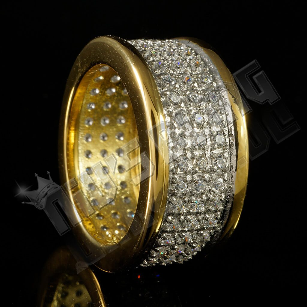 Affordable 18k IP Gold Iced Out Stainless Steel Round Hip Hop Ring - Side View