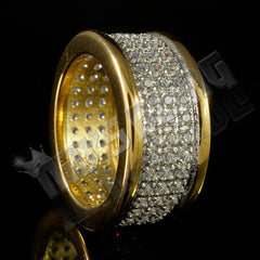 18k IP Gold Iced Out Stainless Steel Round Ring