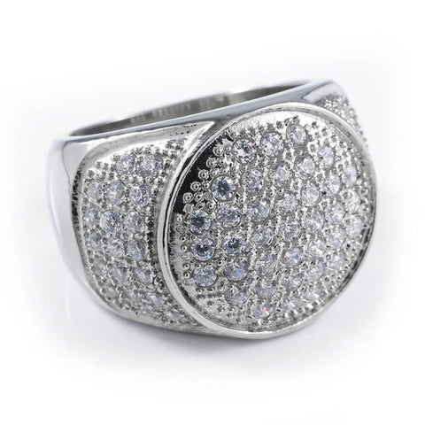 Affordable 18k IP White Gold Iced Out Stainless Steel Presidential Hip Hop Ring - White Background